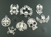 8 Halloween Themed Silver Pendants